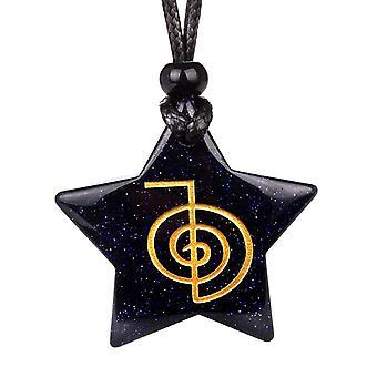 Magische Super Star Choku Rei Reiki Befugnisse Amulett blau Goldstone Glücksbringer Anhänger Halskette
