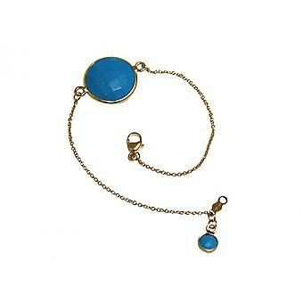 Banhado a ouro pulseira turquesa pulseira - pulseiras e braceletes - - azul - facetada - 19 cm