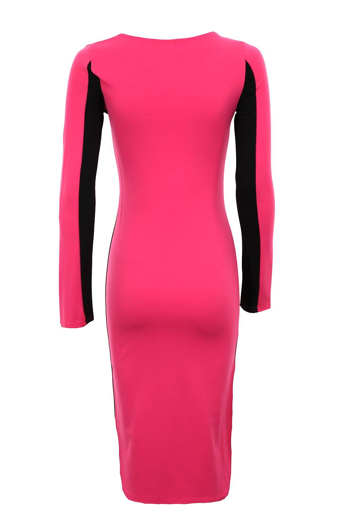Ladies Long Sleeve Side Contrast Optical Illusion Bodycon Slimming Effect Women's Dress