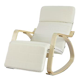 SoBuy Comfortable Relax Chaise Berçante Inclinable avec Beige Footrest,FST16-W