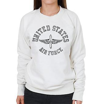 US Airforce Winged Propeller Black Text Women's Sweatshirt