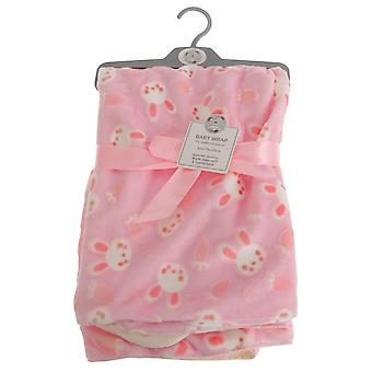 Snuggle Baby Rabbit Patterned Pink Baby Wrap