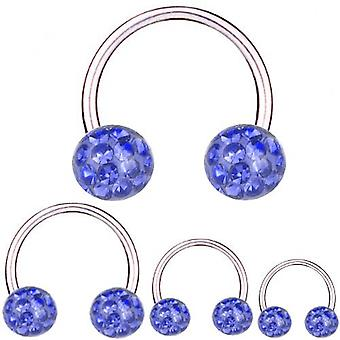 Cirkulär Barbell Titanium 1,6 mm, Multi Crystal Ball Safir blå | 8 - 16 mm