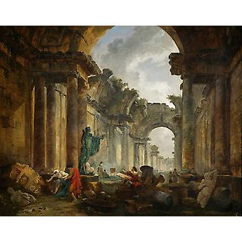 Imaginaire weergave van de Grande Galerie in, Hubert Robert, 50x40cm