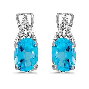 LXR 14k or blanc Topas ovale et boucles d'oreilles en diamant 1.32 ct