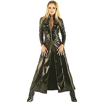 Honour Women's Long Jacket Coat in PVC Black Sci-fi Inspired High Collar
