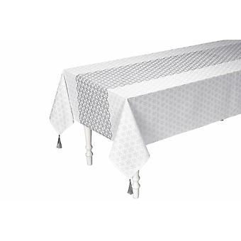 Heine home tablecloth tablecloth festive white-silver print with tassels 100% cotton