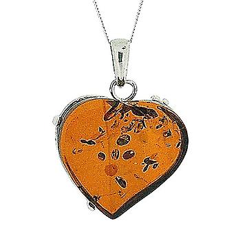 TOC Sterling Silver Heart Shaped Cognac Amber Pendant on 18 Inch Chain