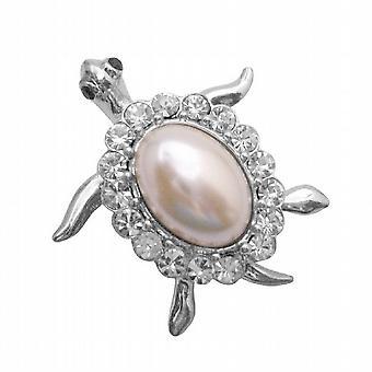 Meget søde skildpadde broche Pin hvid Shell omgivet med klare krystaller
