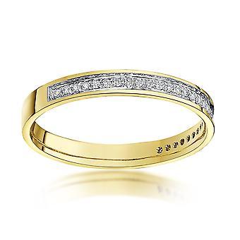 Stjerne vielsesringe 9 kt gul guld runde 0,15 Carat diamant evigheden 3mm vielsesring