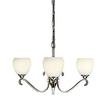 Columbia nikkel drie licht plafond hanger met opaal glas Shades - interieurs 1900 63445