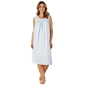 Slenderella ND3255 naisten puuvilla kudottu sininen yö puku oloasut yöpaita