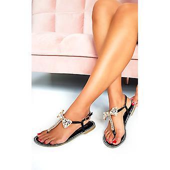 IKRUSH Womens Michaela Embellished T Bar Sandals