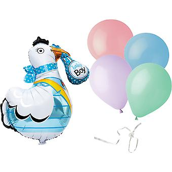 Baby Boy-Stork and Latex balloons with balloon closure