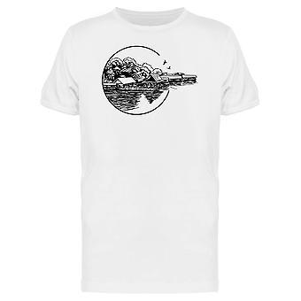 Kleinen Dorf und Fluss T-Shirt Herren-Bild von Shutterstock