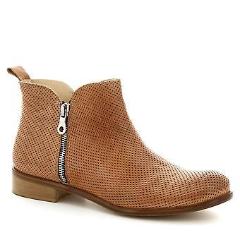 Leonardo sko kvinner ankelstøvletter håndlaget i lys brun openwork skinn
