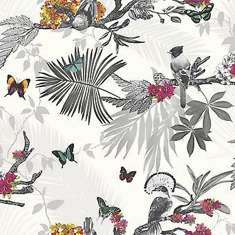 Arthouse Mystic Forest tropisch blad bloemenbehang Splinter glitter bloemen