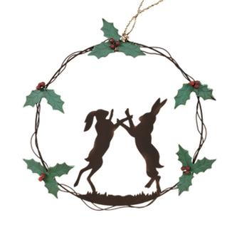 Shoeless Joe Boxing Hares Christmas Wreath | Gift From Handpicked