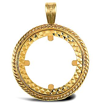 Jewelco London Solid 9ct Yellow Gold Rope Edge Frame Half Sovereign Coin Mount Pendant