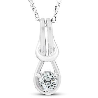 "Diamond Knot Petite Womens Solitaire Pendant 10K White Gold 1/2"" Tall"