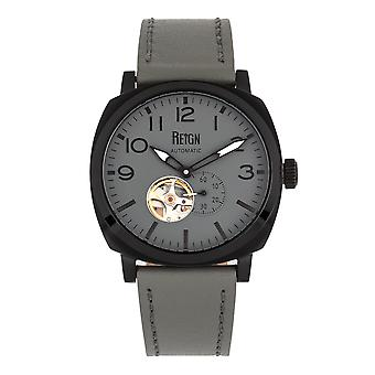 Reign Napoleon Automatic Semi-Skeleton Leather-Band Watch - Black/Grey