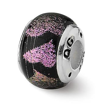 925 Sterling Silver Reflektioner Rosa Lila Kärlek Hjärtan Tärande Glas Pärla Charm Hänge Halsband Smycken Gåvor till Wom