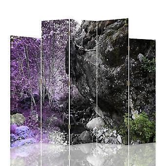 Divisor de habitación decorativa, 5 paneles, doble cara, lona, boulder en el bosque 2