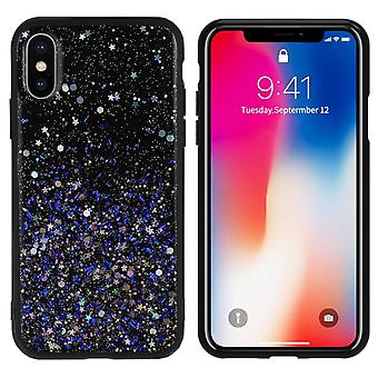 BackCover Spark Glitter TPU + PC voor Apple iPhone Xs Max Blauw
