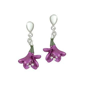 Eeuwige collectie Freesia Plum glazuur bloem zilveren Toon drop schroef terug clip op oorbellen