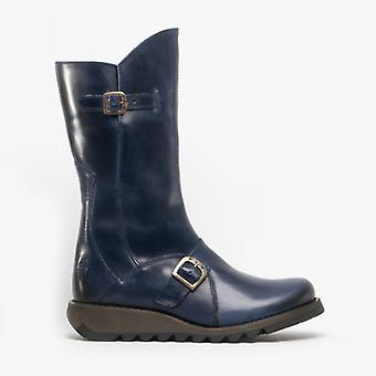 Fly London Mes 2 Ladies Leather Zip Up Mid Calf Boots Blue