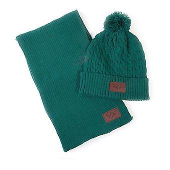 Legend of Zelda Royal Crest Green Braid Bobble Beanie & Ribbed Scarf Gift Set