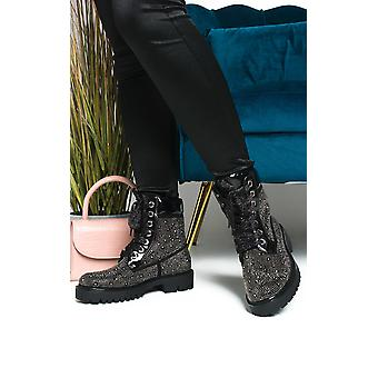 IKRUSH Femmes Timberlina Lace Up Biker Boots