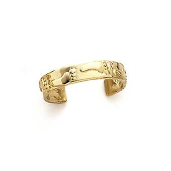 14k Yellow Gold Footprints Toe Ring Jewelry Gifts for Women - 1.3 Grams