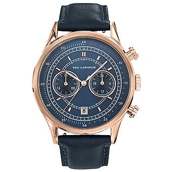 Shows Ted Lapidus 5132603 - chronograph leather steel Dor Rose man case Blue