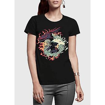 Fire and ice got half sleeves women t-shirt