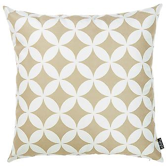Taupe and White Geometric Decorative Throw Pillow Cover