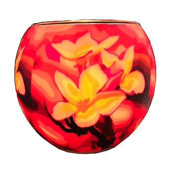 Plaristo Glowing Glass 11cm Tealight Holder - Magnolia