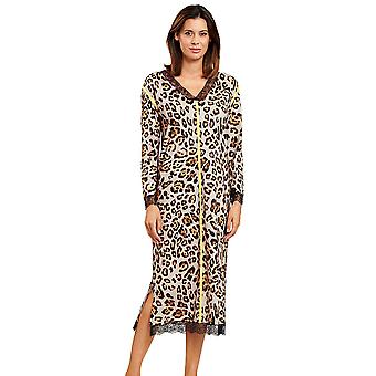 Féraud 3201126-16421 Women's Couture Brown Leopard Print Loungewear Nightdress