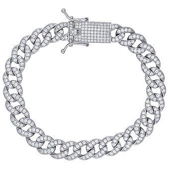 925 Sterling Ezüst Férfi CZ Cubic Cirkónia szimulált Diamond Miami Megfékezése Link karkötő 9mm 8 Inch Ékszer Ajándékok férfiaknak