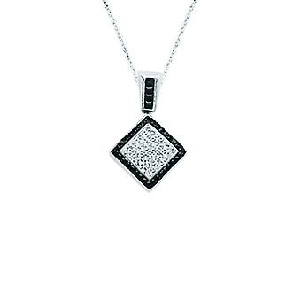 925 Sterling Silver Rhodium Plated Black White Crystal Diamond Shape Necklace 18 Inch Jewelry Gifts for Women