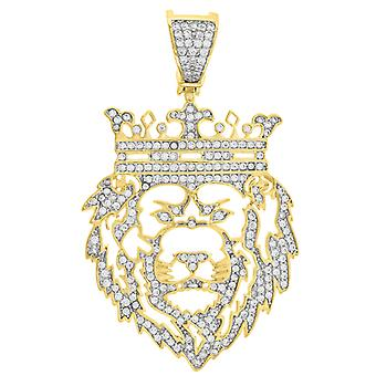 Yellow tone 925 Sterling Silver Mens Round CZ Cubic Zirconia Simulated Diamond Lion King Fashion Pendant Necklace Charm