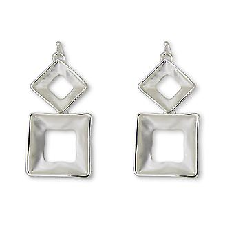 Matte Silver Geometric Drop Earrings