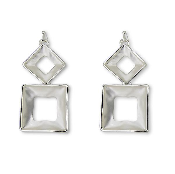 Hollow Square Drop Earrings - Silver