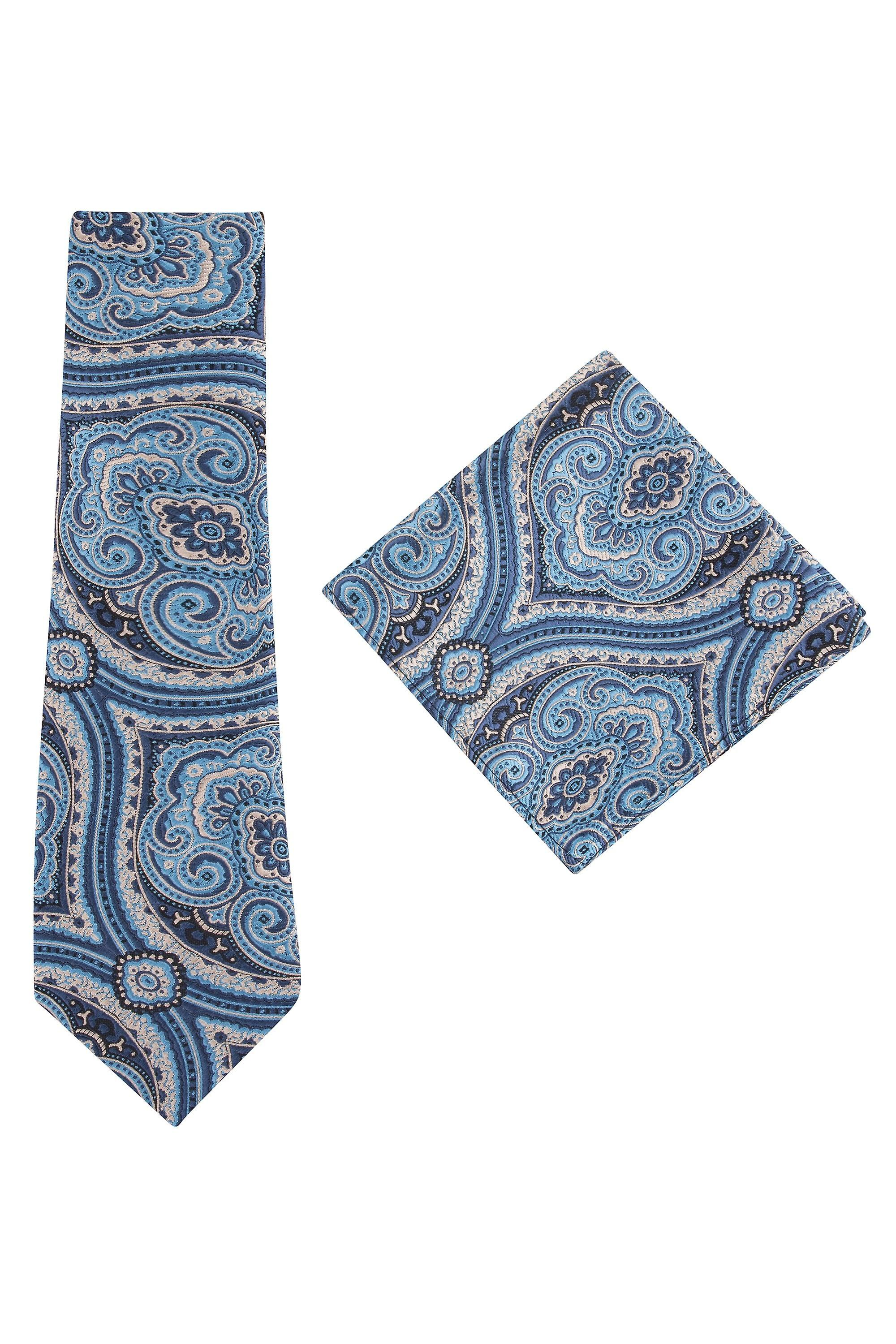 JSS Blue Paisley Tie And Pocket Square Set