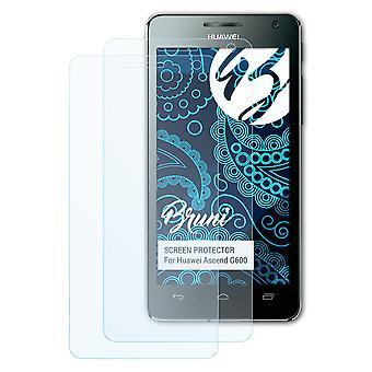Bruni 2x näytönsuoja yhteensopiva Huawei Ascend G600 suojaava kalvo