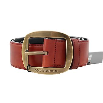 Dolce & Gabbana Red Leather Gold Round Buckle 4Cm Belt