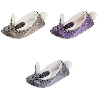Womens/Ladies Rabbit Pom Pom Slippers