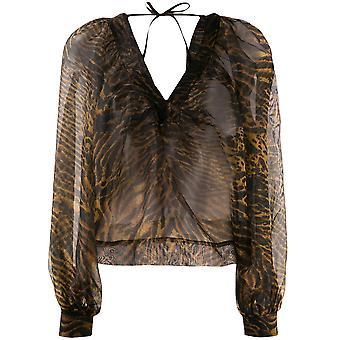 Ganni F3472986 Femmes-apos;s Brown/black Polyester Top
