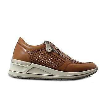 Remonte D3200-24 Tan Leather Womens Lace/Zip Up Casual Trainers