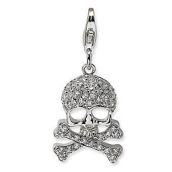 925 Sterling Silver leštěné Rhodium pokovené Fancy Lobster Uzavření CZ Cubic Zirconia Simulované Diamond lebky a Religiou